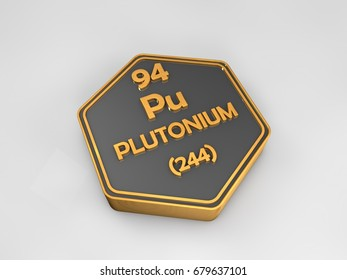 Plutonium - Pu - chemical element periodic table hexagonal shape 3d render