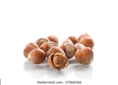 ply truck with hazelnuts on a white background