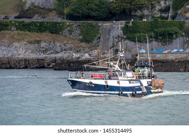 Plymouth Devon England UK July 15th 2019: NICOLA ANNE CK 305 Fishing Vessel Boat Nicola Anne Leaving the Plymouth via Plymouth Sound to the English Channel. Colchester registered CK305.