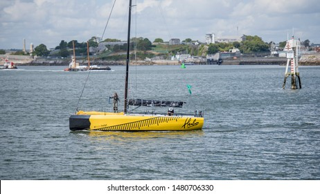 Plymouth Devon UK August 12th 2019: 2019 Rolex Fastnet Race participant NED 2018 W36 Hubo, the W36 Worlds Edition racing yacht designed by Waarschip of the Netherlands, departing Plymouth for home