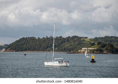 Plymouth Devon UK August 12th 2019: Zawadi Bavaria 39 Cruiser Sailing yacht entering Plymouth Sound. Built by Bavaria Yachts (GER). Designer: J & J Design. Owned by yacht shares group Yacht Fractions.