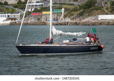 Plymouth Devon UK: August 12th 2019 GER 3972 Logoff long-haul cruiser fast sailing Stic 47.5 yacht departing Plymouth after competing in the 2019 Rolex Fastnet Race Carsten Sommer Hull made of Steel.