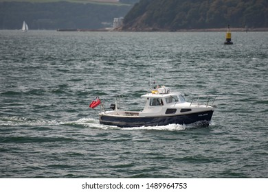 Plymouth Devon UK August 22nd 2019 Plymouth Pilot 24 SSR163809 Polaris Popular as a club boat but built to a heavier workboat hull MMSI 235017086 Call Sign MELN3, making her way through Plymouth Sound