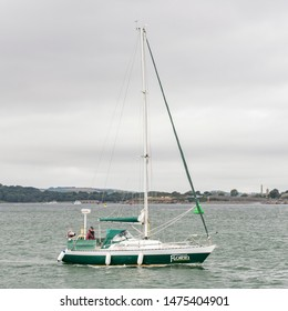 Plymouth Devon UK August 8th 2019: Florin a Contention 30 enters Plymouth Port. Built by Southern Ocean Shipyard Poole in 1978. Fitted out by Mylor Yachts Falmouth as a cruiser masthead sloop.