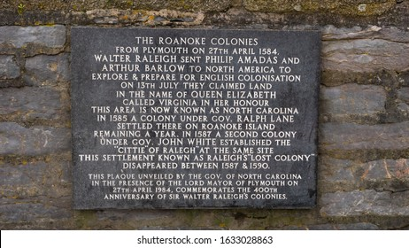 PLYMOUTH, DEVON, UK - January 25 2020: Plaque near the Mayflower Steps commemorating the 400th anniversary of the Roanoke Colonies