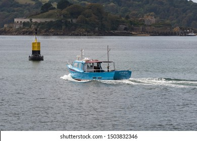 Plymouth Devon UK September 13th 2019: Explorer Plymouth Fishing Boat Vessel  Operating from Mount Batten Landing Stage Plymouth. Charter fishing boat offering offshore wreck and angling fishing trips