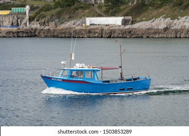 Plymouth Devon UK September 13th 2019: Explorer Plymouth Fishing Boat Vessel Operating from Mount Batten entering The Sound Plymouth. Charter fishing boat offering offshore wreck and fishing trips