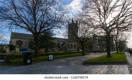 Plymouth, England - April 15, 2018: Minster Church of St Andrew, view from Royal Parade