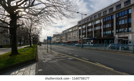 Plymouth, England - April 15, 2018: Looking Down Royal Parade Street