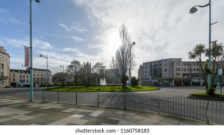 Plymouth, England - April 15, 2018: St Andrews Cross Roundabout with Gdynia Fountain in Background