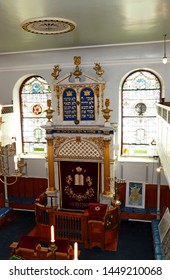 Plymouth England July 2019. Interior of Plymouth's Orthodox Synagogue. Oldest Ashkenazi  Synagogue in regular use in English speaking world. Established and consecrated 1762. Cost £300