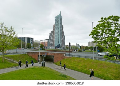 Plymouth England May 2019. Beckley Court. Student accommodation opened in 2017. 23 stories, 78 metres high. Tallest building in South West England. Designed by Boyes Rees Architects.