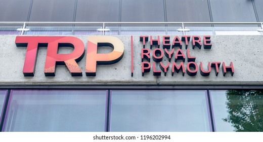 Plymouth, England - Sep 12, 2018: Theatre Royal Plymouth logo, mid center view shallow depth of field