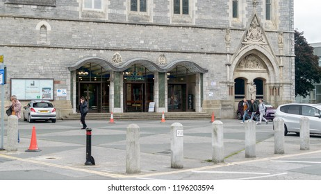 Plymouth, England - Sep 12, 2018: Entrance to Plymouth Guildhall, East Facade, Shallow Depth of Field Street Photography