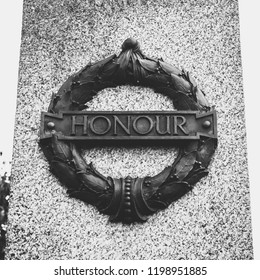 Plymouth, England - Sep 12, 2018: Plymouth City War Memorial Wreath with Honour Plaque, Shallow Depth of Field black and white photography