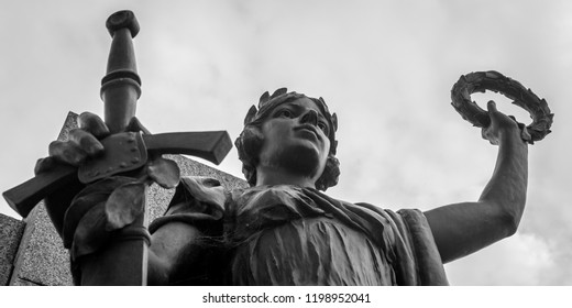 Plymouth, England - Sep 12, 2018: Plymouth City War Memorial Statue B, Shallow Depth of Field black and white photography