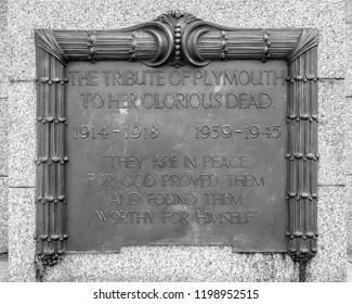 Plymouth, England - Sep 12, 2018: Plymouth City War Memorial - Decorated Plaque, Shallow Depth of Field black and white photography