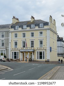 Plymouth, England - Sep 12, 2018: Invicta Hotel Plymouth, Victorian property offering straightforward rooms with free breakfast and Wi-Fi, plus a restaurant