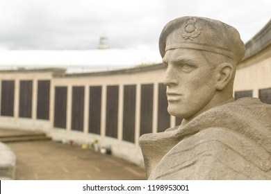 Plymouth, England - Sep 12, 2018: Details Plymouth Naval Memorial, Stone Statue of Soldier, Shallow Depth of Field vertical photography