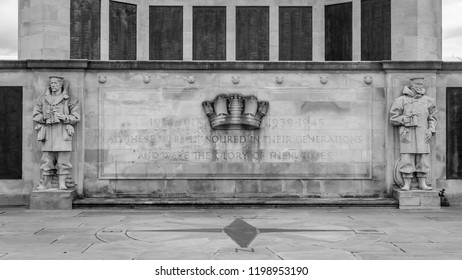 Plymouth, England - Sep 12, 2018: Detail of Plymouth Naval Memorial, Sculptural Figures and Stone Plaque, Shallow Depth of Field horizontal photography