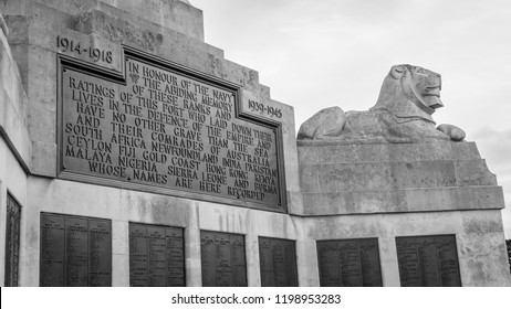 Plymouth, England - Sep 12, 2018: Close up of Plymouth Naval Memorial, Memorial Plaque and Stone Lion, Shallow Depth of Field horizontal photography