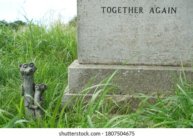 Plymouth England. September 2020. Grave surrounded by unkempt grass with moving two word statement on a headstone saying Together Again. Small statue in grass of two meerkats cuddling