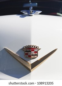 PLYMOUTH - JULY 29 : A vintage Cadillac hood ornament at the Concours D'Elegance  July 29, 2012 in Plymouth, Michigan.