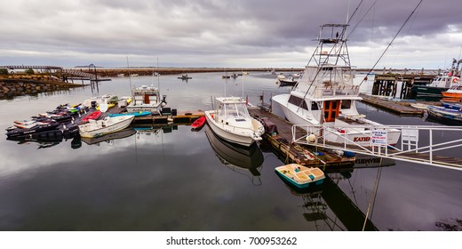 Plymouth, MA - Oct. 21, 2014: Historical Plymouth Harbor. Plymouth Harbor was the site of anchorage of the Mayflower where the pilgrims disembarked to establish a permanent settlement at Plymouth.
