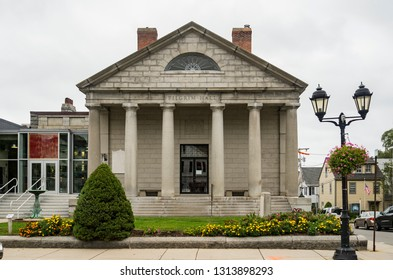 PLYMOUTH, MA USA - AUGUST 10, 2018: facade of historic museum for the pilgrims landing in Plymouth with the Mayflower.