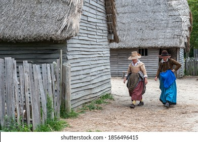 PLYMOUTH, MA, USA - JUNE 17, 2010: Plimoth Plantation in Plymouth. This open-air museum replicates the original settlement at Plymouth Colony where the first Thanksgiving may have been held.
