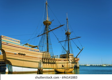 Plymouth, Massachusetts, USA - September 13, 2016:  The Mayflower II resides in the harbor, a replica of the 17th century Mayflower and it's dinghy.