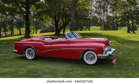 PLYMOUTH, MI/USA - JULY 28, 2019: A 1953 Buick Skylark car on display at the Concours d'Elegance of America car show at The Inn at St. John's.