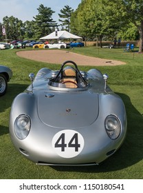 PLYMOUTH, MI/USA - JULY 29, 2018: A 1959 Porsche RSK 718 racecar on display at the Concours d'Elegance of America car show at The Inn at St. John's.