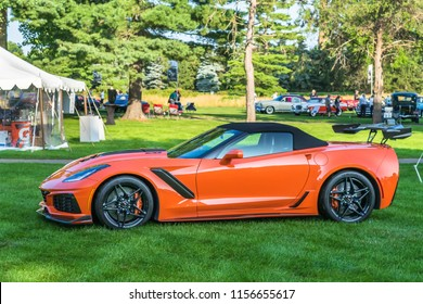 PLYMOUTH, MI/USA - JULY 29, 2018: A 2018 Chevrolet Corvette ZR1 car on display at the Concours d'Elegance of America car show at The Inn at St. John's.