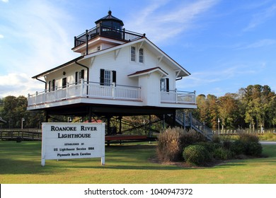 PLYMOUTH, NC – OCTOBER 22: A perfect replica of the second Roanoke River Lighthouse sits peacefully alongside the Roanoke River in the historic town of Plymouth October 22, 2018 in Plymouth, NC