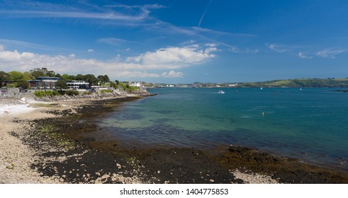Plymouth UK. 21/5/19: A view of Firestone Bay with Plymouth Hoe and the River Plym in the background.