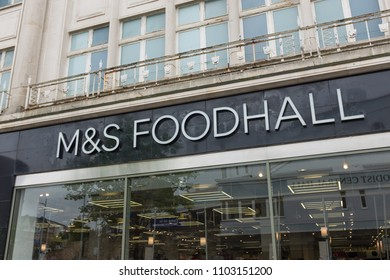 Plymouth UK.  6/1/18:  A Marks & Spencer Foodhall Shopfront On A Typical British High Street.