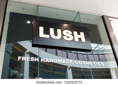 Plymouth UK. 6/1/18:  The Shopfront Sign Of A Lush Cosmetics Outlet.