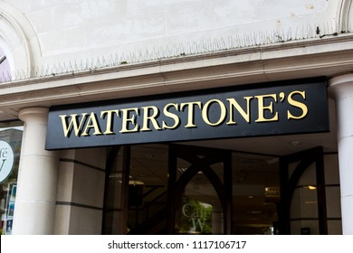 Plymouth, UK. 6/20/18:  The Waterstone's logo above the door of one of its high street shops.