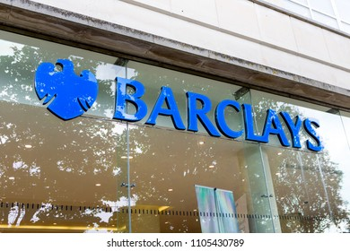 Plymouth, UK/ 6/5/18:  The Barclay's Bank Shop Window On A Typical British High Street.