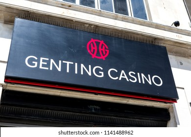 Plymouth, UK. 7/24/18:  The front of a   Genting Casino on a British high street.