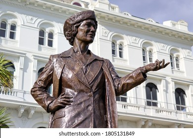Plymouth, UK - August 29, 2020: Statue on Plymouth Hoe of Nancy Astor, MP for Plymouth Sutton from 1919 until 1945 and the first woman to sit as an MP in the House of Commons.