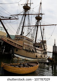 PLYMOUTH, USA - JUNE 20: Replica of the ship Mayflower that brought religious separatist also called puritans from Europe to Plymouth in MA, USA in 1620 anchored in Plymouth on July 20, 2012 .