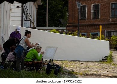Plyos, Ivanovo Oblast, Russia - 06-12-2021: landscape painters