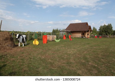PLYOS, RUSSIAN FEDERATION - AUGUST 24, 2016: Russian dacha in Plyos city (Ivanovo oblast, Russia). Awesome idea for dacha and country house; wooden handicrafts, handmade funny things