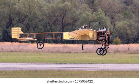 PLZEN LINE, CZECH REPUBLIC - SEPTEMBER 9, 2018: Famous plane Blériot XI at Pilsen air show.