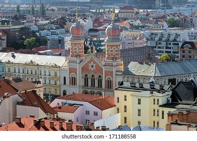 Plzen, View of the Great Synagogue from the Cathedral of St. Bartholomew, Czech Republic