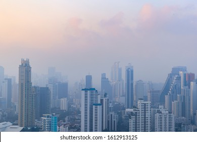PM 2.5 and Dust in the air of Bangkok city, Capital city are covered by heavy smog, Misty morning in downtown, Bad air pollution, The Place to risk of cancer, Thailand-Image