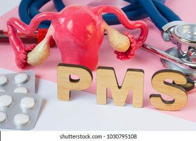 PMS Acronym or abbreviation of premenstrual syndrome, physical and emotional symptoms before woman period. Word PMS near model of female organs - uterus and ovaries, pills in blister and stethoscope