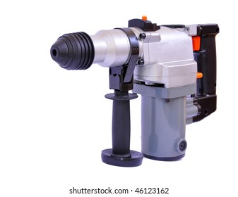Pneumatic drill isolated on white with clipping path